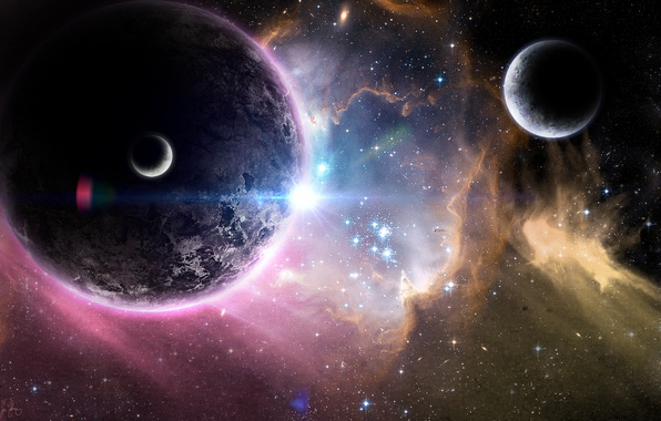 Картинка космос, звезды, туманность, планеты, арт, space, universe, спутники, nebula, art, stars, planets