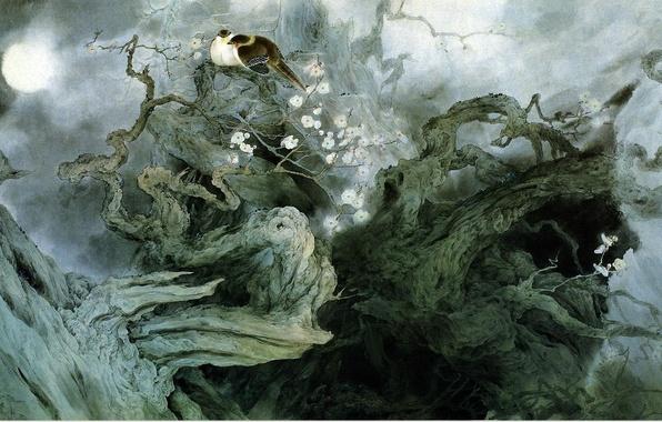 Картинка цветы, птицы, ночь, ветки, туман, дерево, луна, рисунок, арт, иероглифы, китайская живопись, Zou ChuanAn
