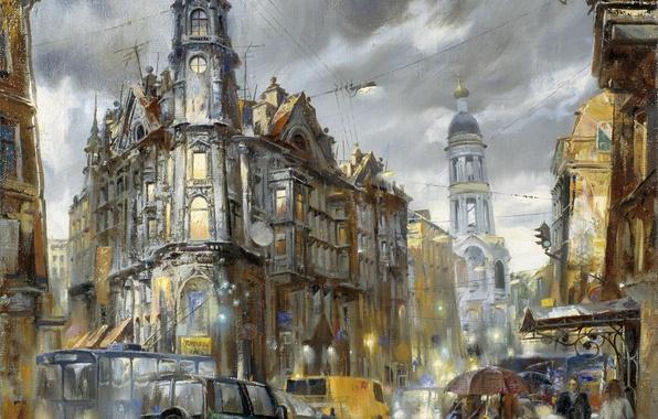 Картинка машины, город, огни, дождь, транспорт, улица, рисунок, картина, вечер, фонари, акварель, Санкт-Петербург, пять углов, Иван ...