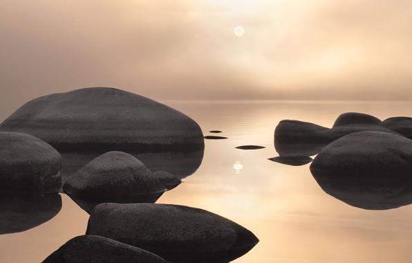 Картинка море, вода, пейзаж, камни, закат солнца