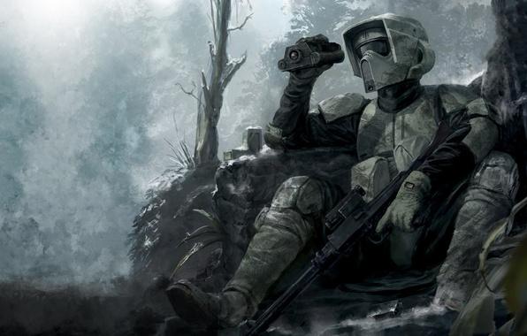 Картинка деревья, оружие, укрытие, воин, бинокль, star wars, винтовка