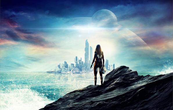 Картинка море, небо, девушка, брызги, city, город, скала, будущее, фантастика, океан, рассвет, камень, рисунок, водолаз, облако, …