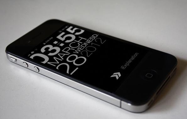 Картинка макро, время, часы, apple, телефон, мобильник, iphone 4, айфон 4