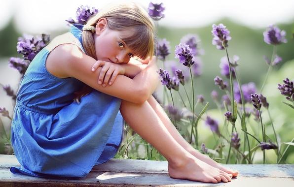 Картинка лето, цветы, природа, девочка