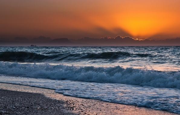 Картинка море, волны, небо, солнце, пейзаж, закат, природа, берег