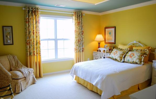 Картинка солнце, желтый, дизайн, стиль, комната, кровать, интерьер, кресло, подушки, окно, квартира