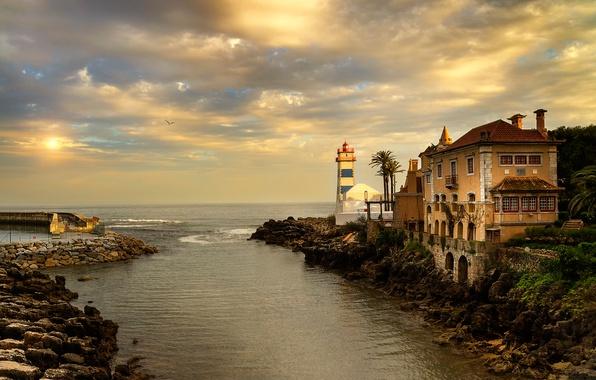 Картинка закат, вечер, Португалия, Cascais