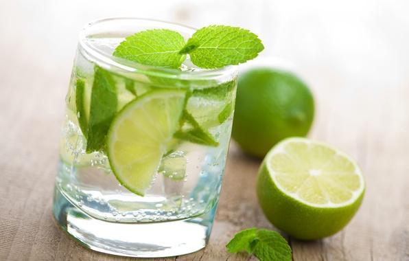 Картинка вода, стакан, лайм, мята, Fresh