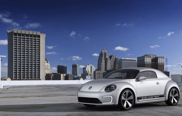 Картинка город, дома, Volkswagen, E-Bugster
