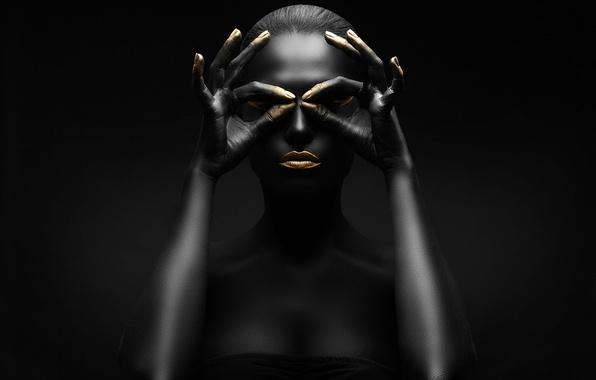 Картинка gold, black, figure, pose, makeup