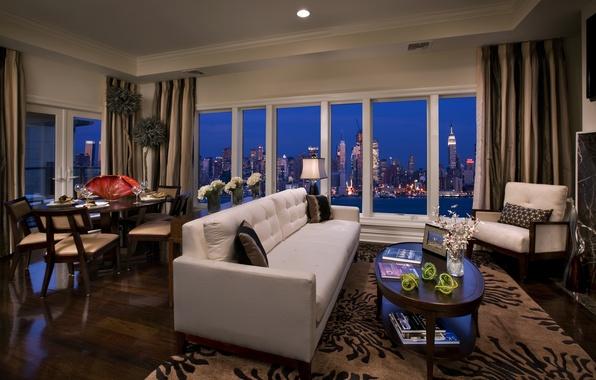 Картинка ночь, город, стол, комната, диван, обои, здания, интерьер, небоскребы, окно, wallpaper, пентхаус, квартира, нью-йорк, сша, …