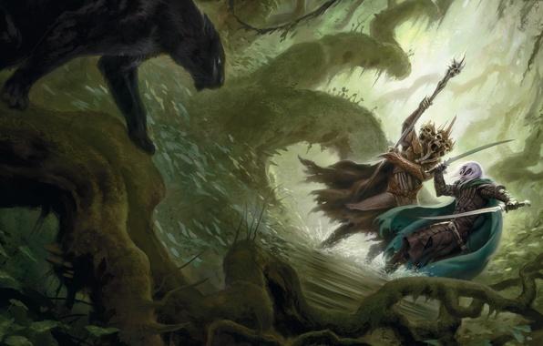 Картинка лес, вода, оружие, эльф, чаща, пантера, арт, посох, головы, битва, дроу, лич, темный эльф, Роберт …