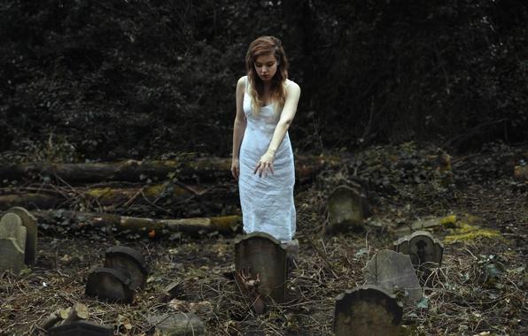 Картинка девушка, могилы, рука, кладбище
