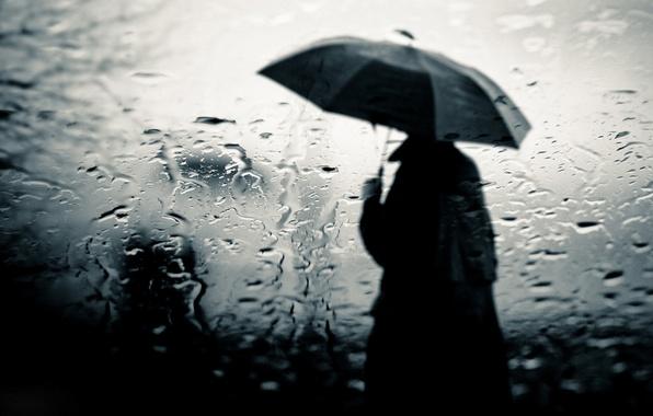 Картинка стекло, дождь, человек, разводы, зонт, плащ, слякоть, уныло