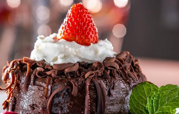 Картинка ягоды, еда, шоколад, клубника, торт, пирожное, cake, десерт, food, сладкое, chocolate, dessert, berries, strawberries