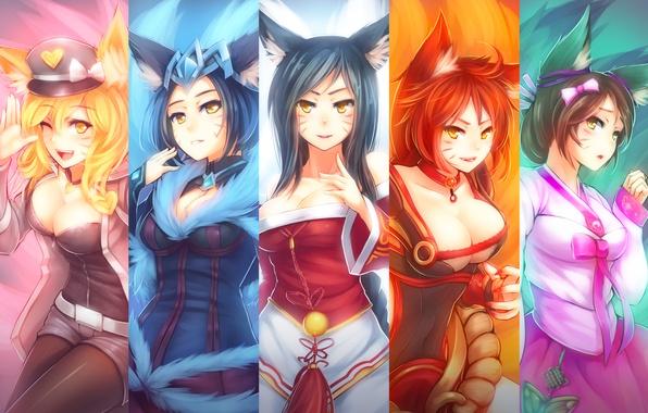 Картинка lol, лисица, League of Legends, Ahri, Nine-Tailed Fox
