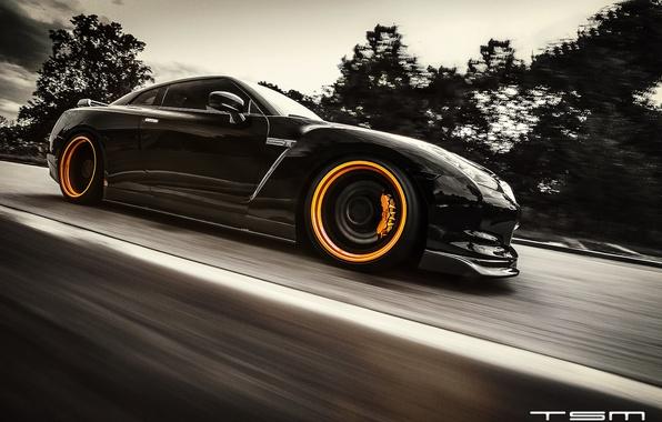 Картинка дорога, чёрный, скорость, Nissan, GT-R