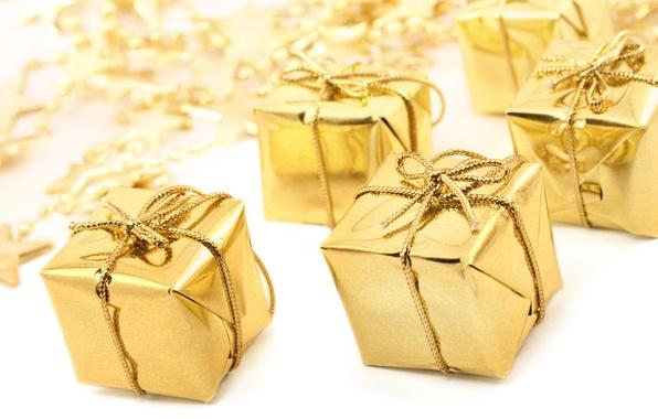 Картинка праздник, подарок, звезда, новый год, лента, подарки, золотой, new year, золотистый, бантик, звездочки