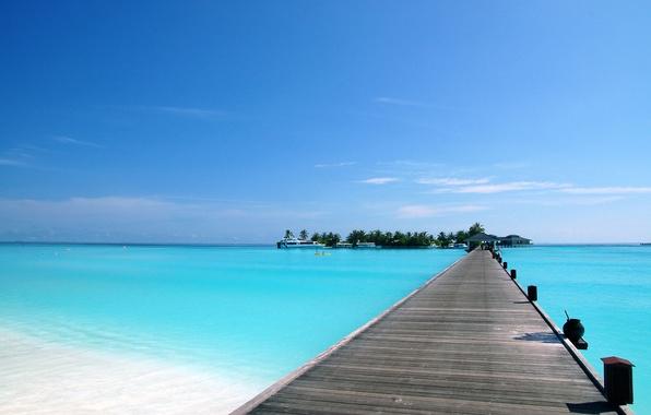 Картинка море, лето, небо, вода, острова, пальма, пальмы, океан, лодка, корабль, жара, дома, корабли, яхты, лодки, …
