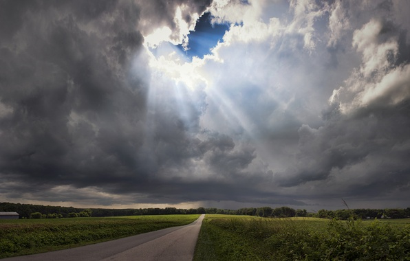 Картинка дорога, гроза, поле, небо, трава, лучи, деревья, тучи, Вирджиния, США, просвет, штат Виргиния