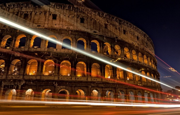 Картинка дорога, ночь, город, огни, выдержка, Рим, Колизей, Италия, архитектура, Italy, Colosseum, Rome, амфитеатр, Colosseo, Anfiteatro …