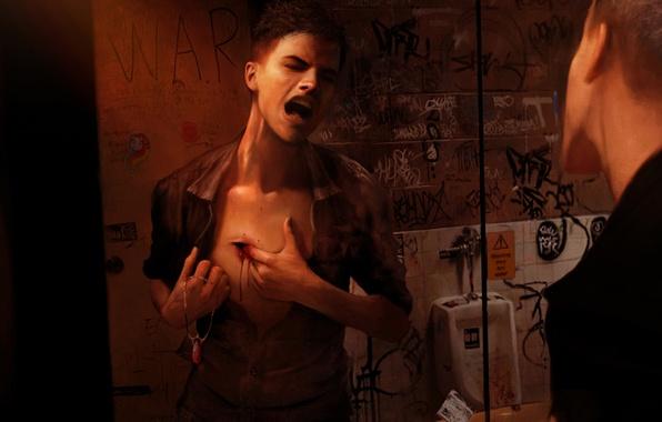 Картинка отражение, кровь, зеркало, туалет, дырка, браслет, боль, крик, Dante, Данте, Capcom, Ninja Theory, DmC: Devil …