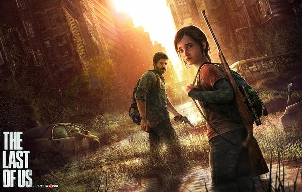 Картинка город, оружие, дома, разруха, Элли, винтовка, выжившие, The Last of Us, Джоэл, Naughty Dog, PlayStation …