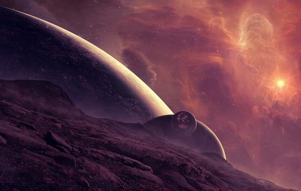 Картинка космос, поверхность, туманность, звезда, планета, арт, спутники, рельеф, TylerCreatesWorlds