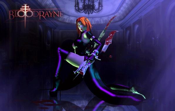 Картинка взгляд, девушка, поза, оружие, кровь, игра, латекс, ботфорты, красные волосы, вампирша, BloodRayne