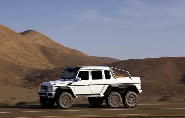 Картинка белый, Mercedes-Benz, Авто, День, вид сбоку, AMG, Внедорожник, G63, 6x6, В Движение