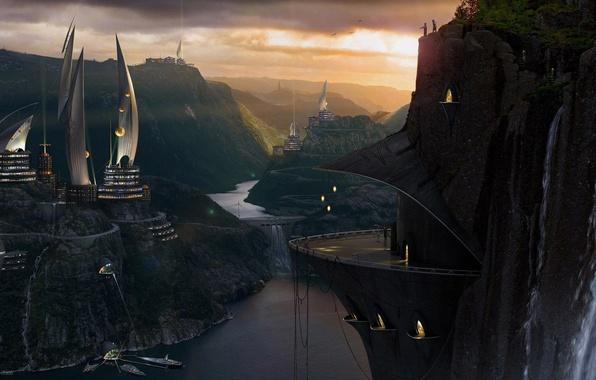 Картинка закат, горы, птицы, город, будущее, река, люди, дома, яхты, пирс, дамба, жилье, ron crabb, терраса