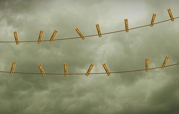 Картинка небо, веревка, прищепки