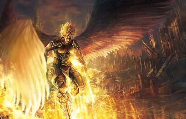 Картинка небо, облака, город, оружие, дома, крылья, ангел, меч, арт, броня, парень, takakyo