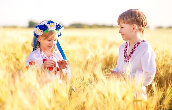 Картинка пшеница, поле, дети, ромашки, мальчик, девочка, Украина, венок, украинцы