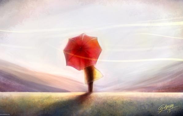 Картинка небо, ветер, спина, человек, арт, живопись, красный зонт