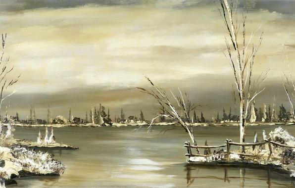 Картинка зима, деревья, пейзаж, река, масло, холст, Овчи́нников Влади́мир Ива́нович