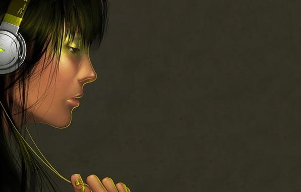 Картинка девушка, стиль, музыка, настроение, наушники