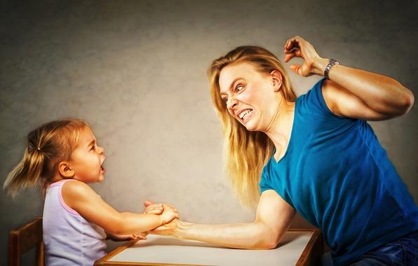 Картинка победа, девочка, мама, Arm Wrestling