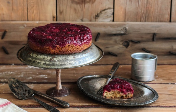 Картинка чай, пирог, чашка, сладости, торт, выпечка, dessert, tea, koffee, клюква, Cranberry, Клюквенный пирог, Pie, Upside …