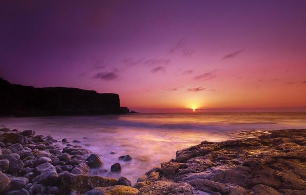 Картинка море, камни, обрыв, рассвет, берег
