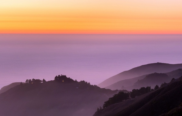 Картинка Landscape, ocean, nature, sunset, fog, Big Sur, Calfornia