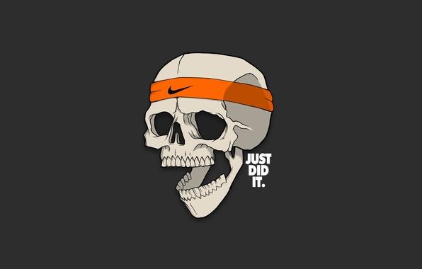 Картинка Минимализм, Череп, Юмор, Надпись, Арт, Art, Skull, Nike, Найк, Minimalism, Humor, Antonian Aleksandr, Caption
