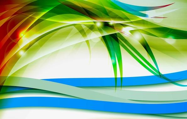 Картинка листья, свет, линии, полоса, растение, цвет, вектор