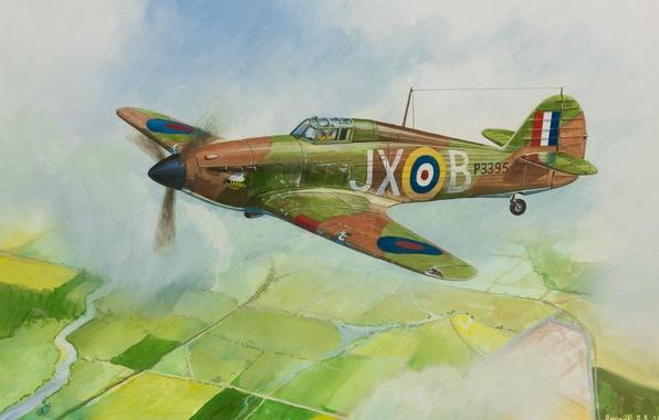 Картинка небо, облака, земля, рисунок, поля, арт, самолёт, британский, истребитель-перехватчик, WW2, Hurricane Mk-1, патрулирование