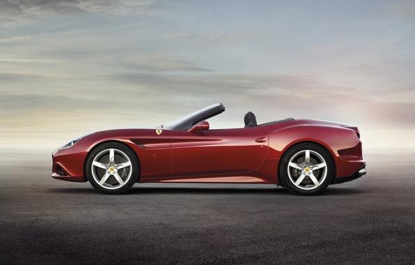 Картинка Красная, Феррари, Ferrari, Калифорния Т, California T, Вид Сбоку