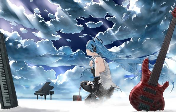 Картинка небо, девушка, облака, свет, гитара, наушники, рояль, арт, инструменты, vocaloid, hatsune miku, синтезатор, bob, biyonbiyon
