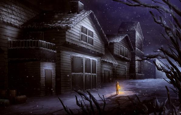 Картинка холод, зима, свет, снег, деревья, человек, окна, дома, арт, фонарь, живопись