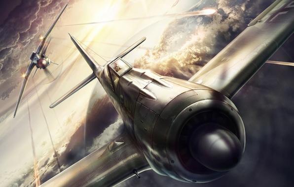 Картинка дизайн, самолет, атака, рисунок, истребитель, бой, обстрел, вторая мировая война, компьютерная графика, МиГ-3, Focke-Wulf 190