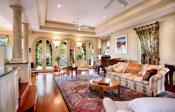 Картинка дом, стиль, диван, интерьер, особняк, гостиная