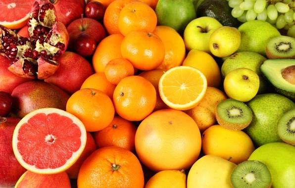 Картинка ягоды, яблоки, апельсины, киви, фрукты, fresh, грейпфрут, fruits, berries